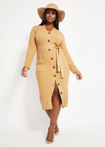 Thanksgiving Dresses Plus Size Women, Belted Sweater Dress