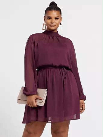 Thanksgiving Dresses Plus Size Women: Vanessa Bow Back Flare Dress