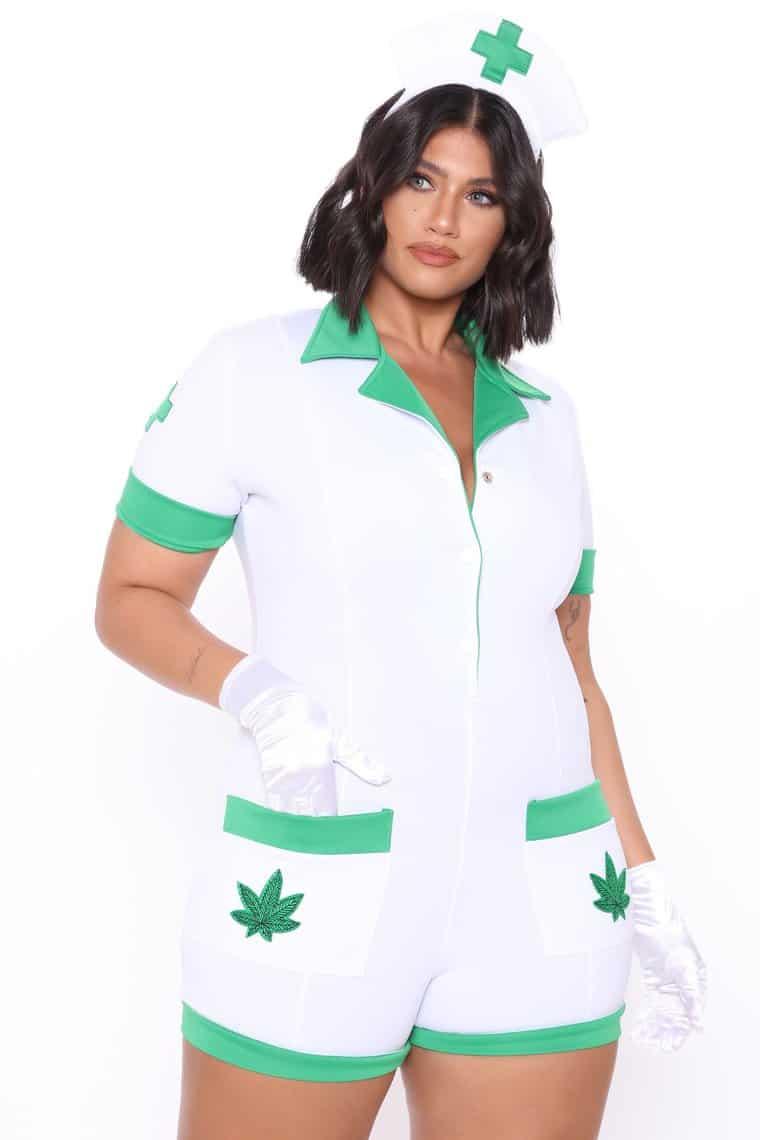 Sexy Fashionnova Halloween Costumes: 420 Blaze It Herbal Nurse 3 Piece Costume Set - White/combo