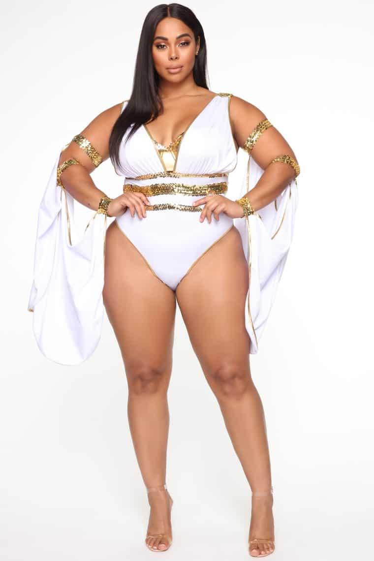 Sexy Fashionnova Halloween Costumes: Glow Up Goddess 3 Piece Costume Set - White/Gold